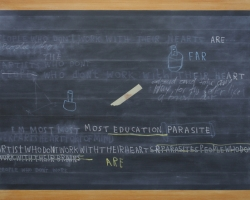 Jumaldi Alfi, Blackboard Painting, Footnote #3, 2012, acrilyc on canvas, 175x250cm