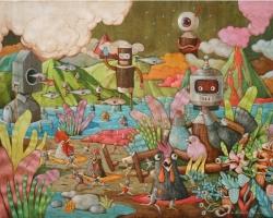 Gatot Indrajati, Prepare for Landing, 2016, acrilyc di kanvas, 200 x 150 cm