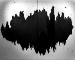 Douglas Diaz, Here, Now Without Comparing, 2017, graphite on canvas, 150 x 220 cm (2 panels)