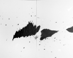 Douglas Diaz, Suspended from The Illusion of Time, 2017, graphite on canvas, 155 x 220 cm (2 Panels)