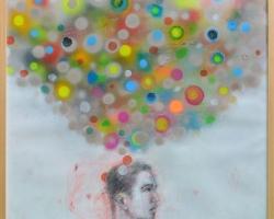Gusmen Heriyadi, Estetika warna, 2018, mixed media on paper, 75x75cm