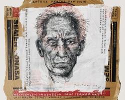 Mangu Putra, Antara Fisik dan Mental, 2017, charcoal and acrylic on cement sack