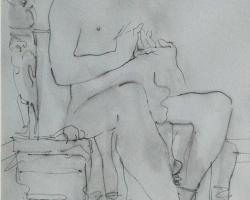 Putu Sutawijaya, Kisah Dari Mendut #1, 2012, ink on paper, 41 x 29 cm