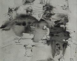 Putu Sutawijaya, Plaosan di Pagi Hari, 2012, water colour on paper, 56x37cm (1)